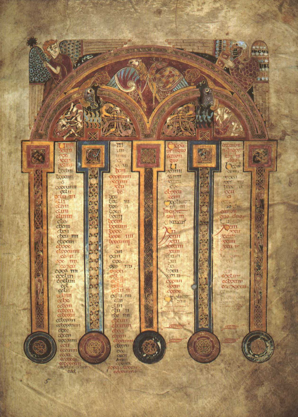 Livre de Kells – Table du canon eusébien – Folio 5 recto.