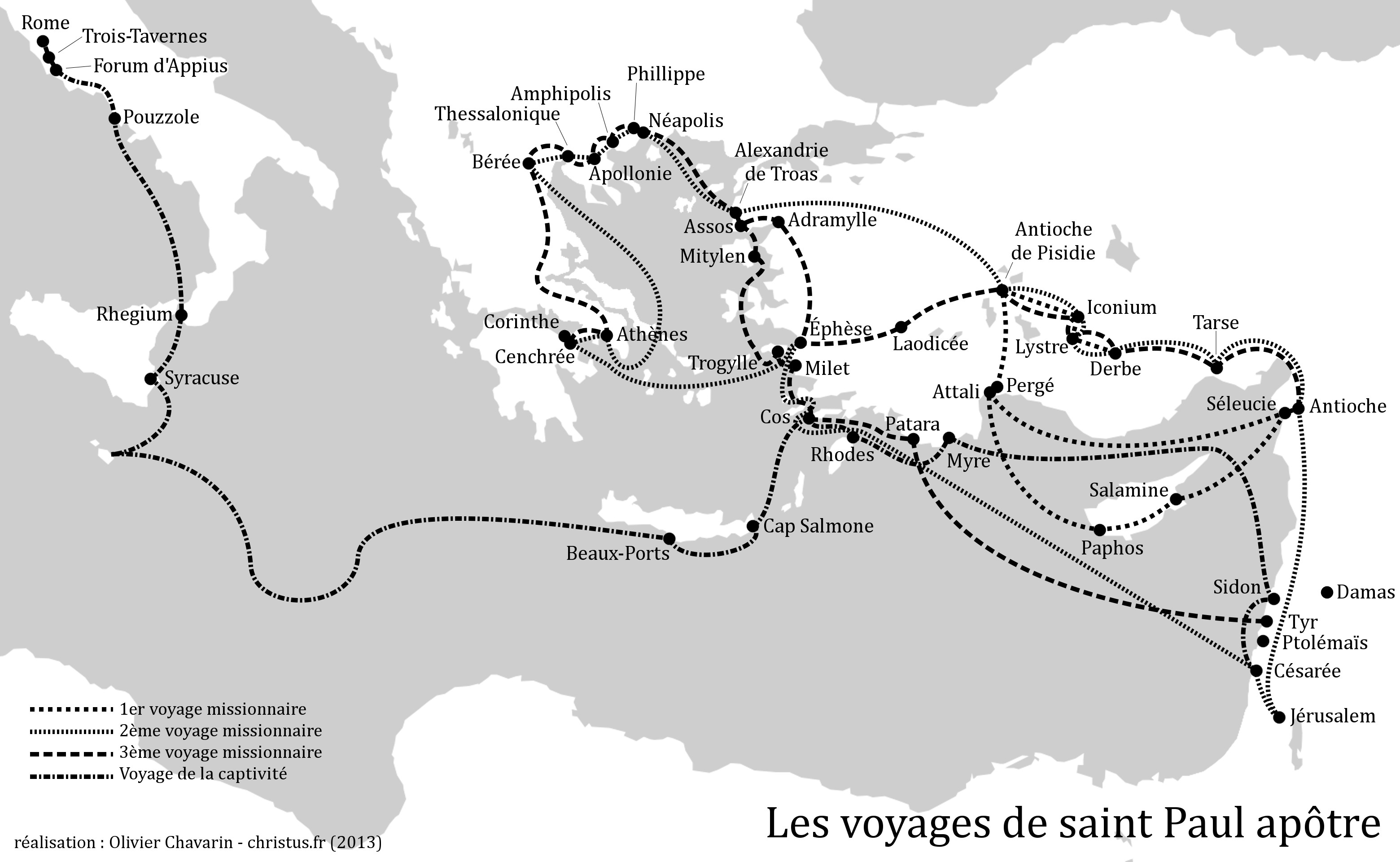 Carte des voyages de saint Paul. Version monochrome.