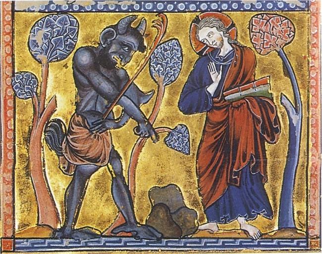 La Première Tentation du Christ au désert – Psautier enluminé, vers 1222, Copenhague, Det kongelige Bibliotek.