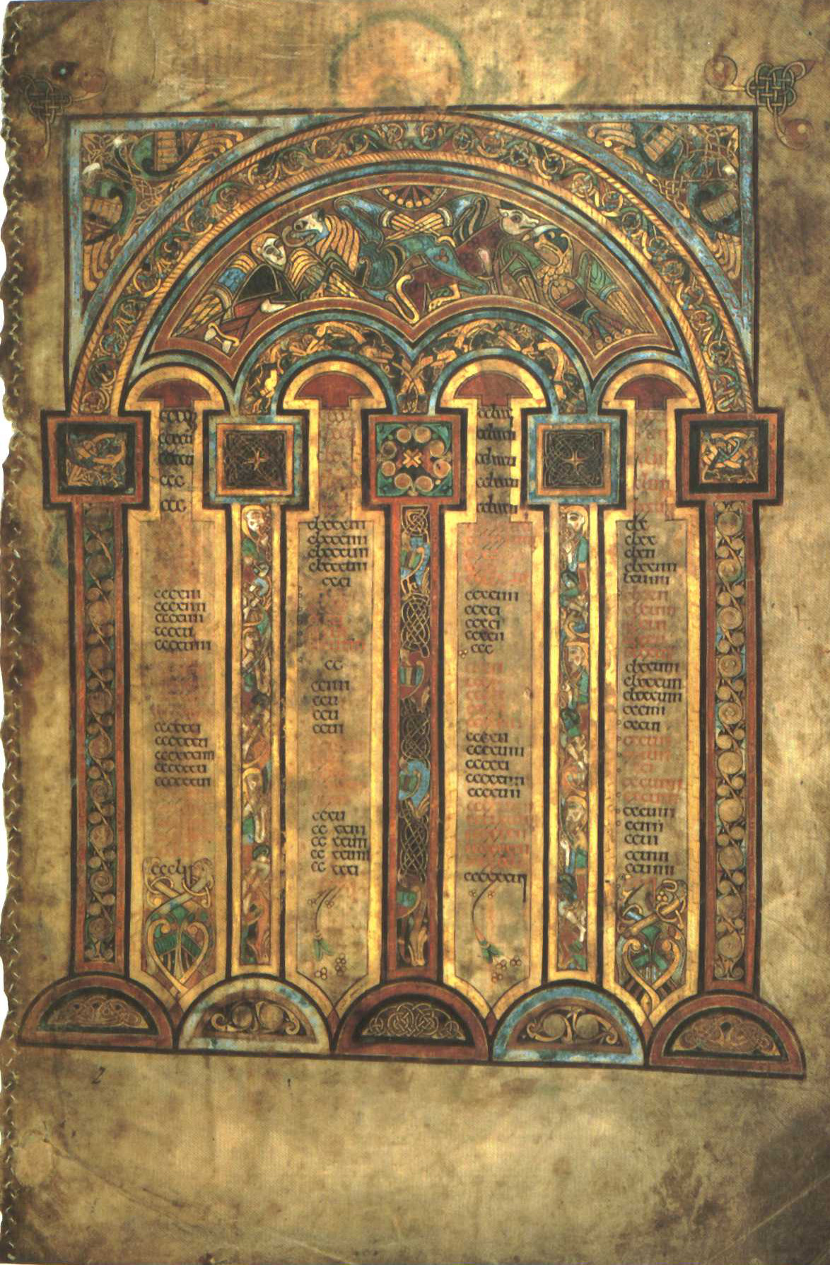 Livre de Kells – Table du canon eusébien, folio 2 recto