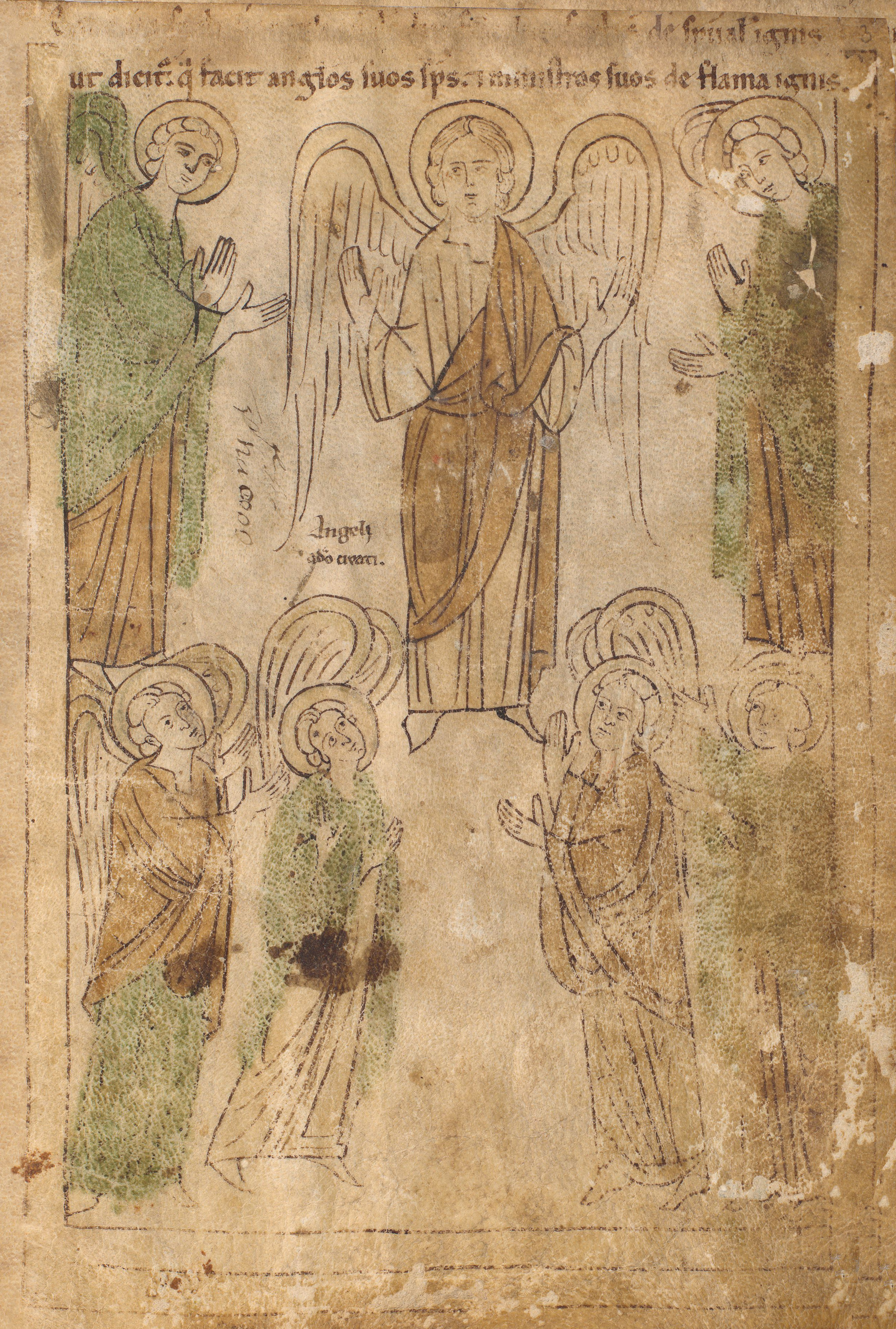 Seconde Bible de Pampelune, folio 3r – La création des anges (Gn 1, 3).